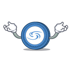 Hand up syscoin character cartoon style vector