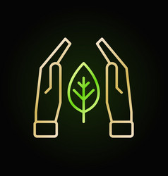 hands with leaf colored line icon on dark vector image
