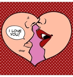 Heart kiss I love you vector image