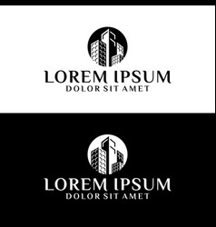 high rise building logo template with apartment vector image