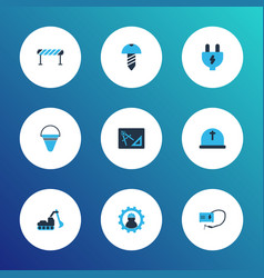 industrial icons colored set with excavator vector image