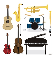 Jazz Music Instruments Objects Set vector