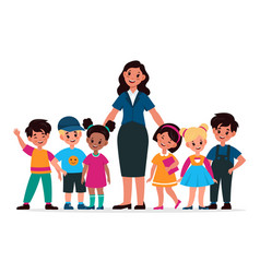 kids with teacher children group and tutor vector image