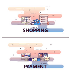 line art shopping poster banner template vector image