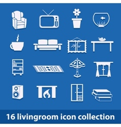 living room icons vector image