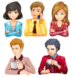 Male and female office workers vector image