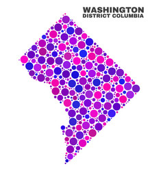 Mosaic washington district columbia map of spheric vector