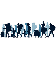 Moving people crowd human emigration silhouette vector