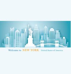 new york landmarks skyline background paper vector image