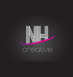 nh n h letter logo with lines design and purple vector image