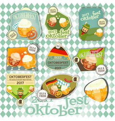 oktoberfest beer festival labels set vector image