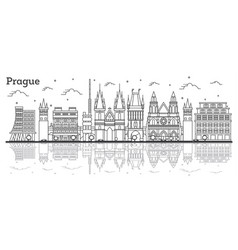 outline prague czech republic city skyline vector image