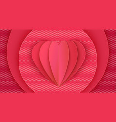 papercut heart poster on pink background vector image