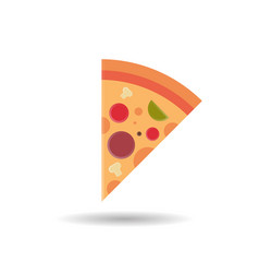 pizza slice icon fast food concept isolated over vector image