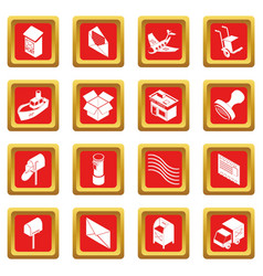 poste service icons set red square vector image