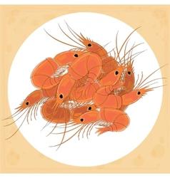 Prepared shrimp on the white plate vector