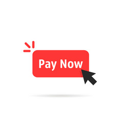 Red pay now button isolated on white vector