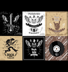 rock and roll forever logotype sketches set vector image