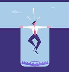 Scared businessman character hanging above deep vector