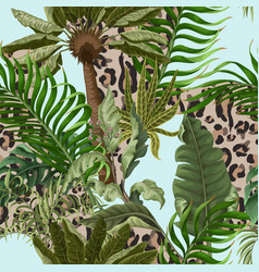 Seamless leopard skin pattern with tropical leaves vector