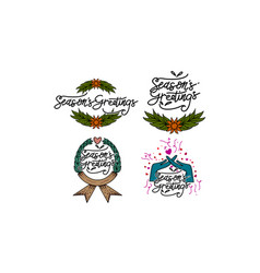 seasons greetings template set vector image