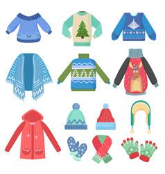 Set christmas design warm winter clothes scarf vector