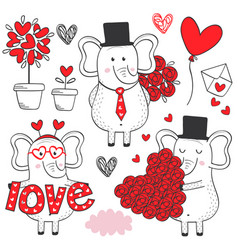 set isolated elephant in love black and white vector image