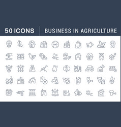 Set line icons business in agriculture vector