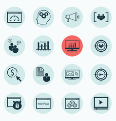 Set of 16 advertising icons includes video player vector