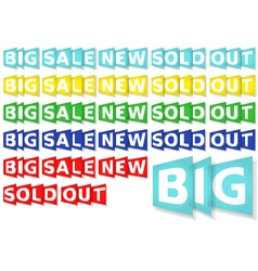 Set of General Eshop Messages in 5 Colors vector image