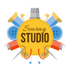 Sewing studio logo with tailors stuff vector