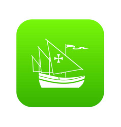 ship of columbus icon digital green vector image