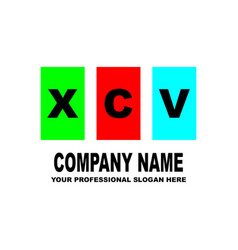 simple logo the three letters xcv are located on vector image
