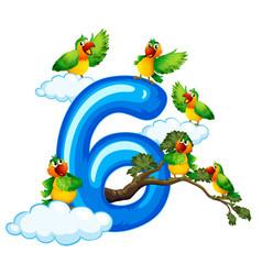 Six bird on sky vector