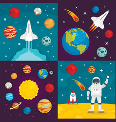 Space planets banner set flat style vector