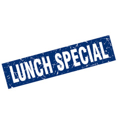 Square grunge blue lunch special stamp vector