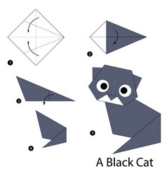 step instructions how to make origami a black cat vector image