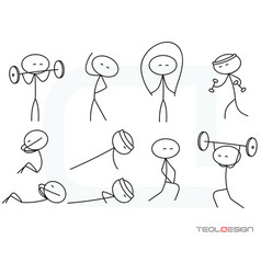 Stick figure svg eps png people gym sport body sti vector