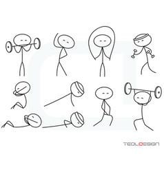 stick figure svg eps png people gym sport body sti vector image