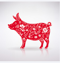 stylized red pig vector image