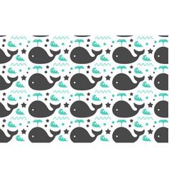 sweet whales sea ocean decorative seamless vector image