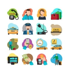 Taxi cartoon icons set vector