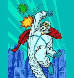 The doctor defeats coronavirus mortal combat vector
