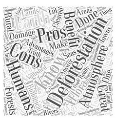 The Pros And Cons of Deforestation Word Cloud vector image