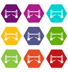 tower bridge icon set color hexahedron vector image