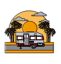 trailer home isolated on sunset landscape vector image vector image