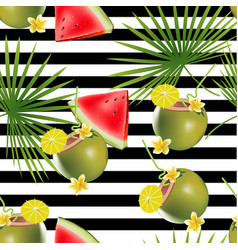 Tropical abstract color and green palm leaves vector