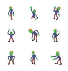 Undead icons set cartoon style vector