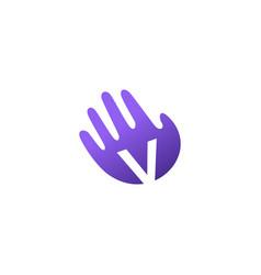 v letter hand palm hello logo icon vector image