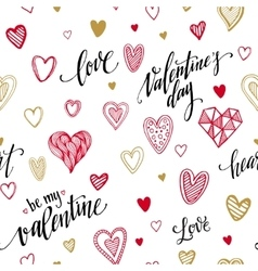 Valentine seamless pattern with hand lettering vector image